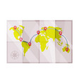 paper map with destination points as travel and vector image