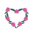 Pink Rhododendron Flowers in Heart Shape Frame vector image vector image