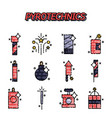 pyrotechnics flat icons set vector image