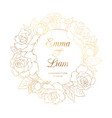 rose floral wreath luxury gold wedding invitation vector image vector image