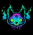 scary multicolored cat skull in ghost flame vector image vector image