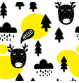 seamless pattern with cute deer and trees in the vector image