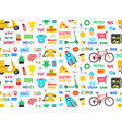 seamless pattern with cute sticker vector image