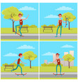 set of posters with skateboarder background bench vector image vector image