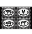 Set postage stamps with pets