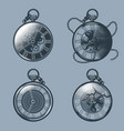 set vintage pocket watches monochrome tattoo vector image vector image