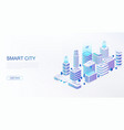smart city with intelligent buildings connected vector image vector image