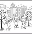 teenager boy and girls cartoons design vector image