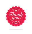 thank you label or badge symbol flat vector image vector image