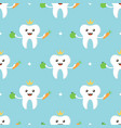 tooth character seamless pattern background vector image
