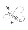 traveller logo concept lettering traveler vector image