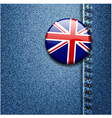 UK Flag On Denim Texture vector image