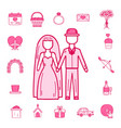 wedding outline married engagement groom bride vector image vector image