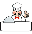 Winked Chef Banner With Platter vector image vector image