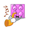 with trumpet toy brick mascot cartoon vector image vector image