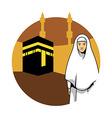 Women Hajj And Kaaba Background vector image vector image