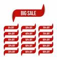 big sale banner in ribbon form sale labels vector image
