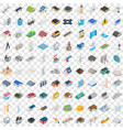100 architecture icons set isometric 3d style vector image vector image