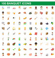 100 banquet icons set cartoon style vector image vector image