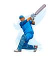 abstract batsman playing cricket from splash vector image vector image