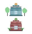 bank building flat design icon set vector image vector image