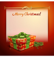 Christmas background with a gift vector image vector image