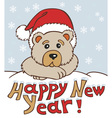Christmas bear in hat vector image vector image