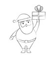 christmas happy santa claus holding gift vector image