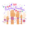 colorful rakhi tied on hand in vector image