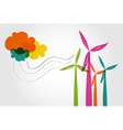 Colorful wind mills and clouds vector image vector image