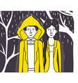 couple lovers with yellow clothes walking under vector image