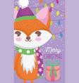 cute fox happy christmas tags vector image vector image