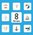 flat icon beach set of ship hook clothes beach vector image vector image