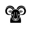 funny ibex black icon sign on isolated vector image