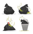 garbage bags with waste set full litter vector image vector image