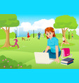 girl working with lap top in the city park vector image vector image