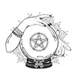 hand drawn magic crystal ball with pentagram vector image vector image