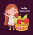 happy thanksgiving day little girl with filled vector image