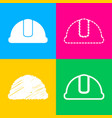hardhat sign four styles of icon on four color vector image vector image