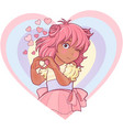 kawaii girl showing heart shape gesture vector image vector image