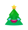 laughing tears christmas tree isolated emoticon vector image