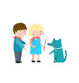 little boy and girl playing with dog vector image
