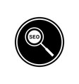 magnifying glass round flat icon and seo icon vector image vector image