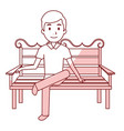 man sitting on park chair vector image
