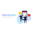 mobile advertising businessman looking at vector image