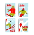 Mountain Skier Colorful Winter Sport Flyer Design vector image