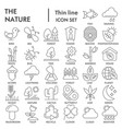 nature thin line signed icon set environment vector image