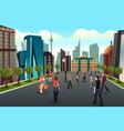 people walking outside toward high rise buildings vector image vector image