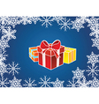 Presents with snowflake border vector image vector image