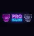 pro gamer neon sign neon gaming design vector image vector image